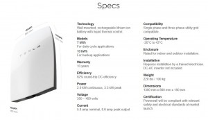 tesla powerwall specifications